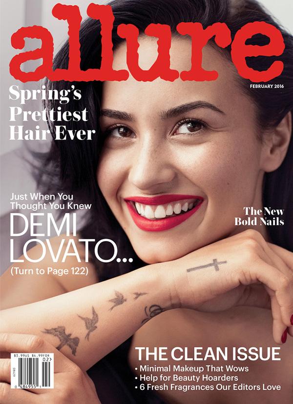 Demi Lovato on the Feb 2016 cover of Allure Magazine