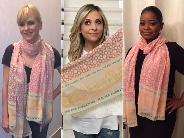 Celebrities wearing Malala Fund x TOMS scarf