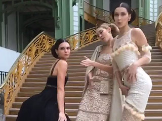 Watch Kendall Jenner Twerk in Chanel Couture with Gigi and Bella as Her Backup Dancers