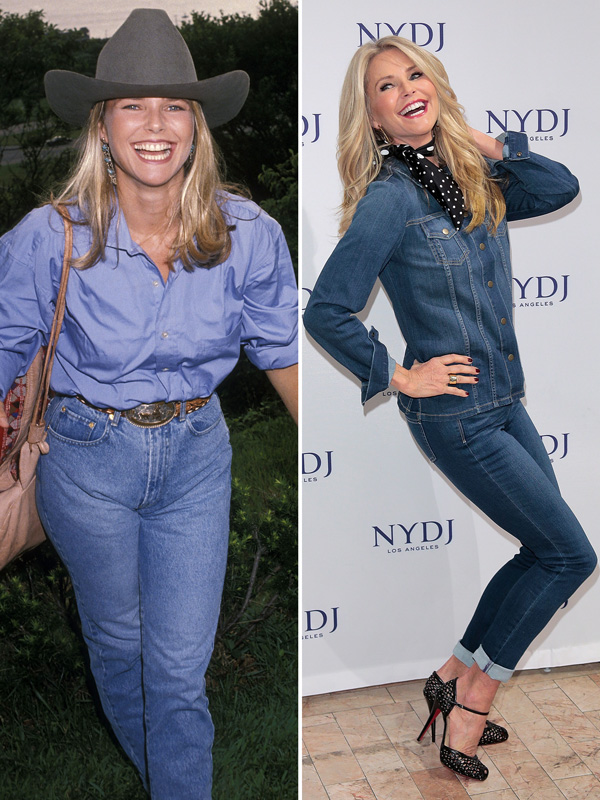 Christie Brinkley in 1990 and in 2016.