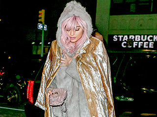 Kylie Jenner Sports Pink Hair and a Gold Metallic Outfit for 'Perfect' Valentine's Day with Tyga