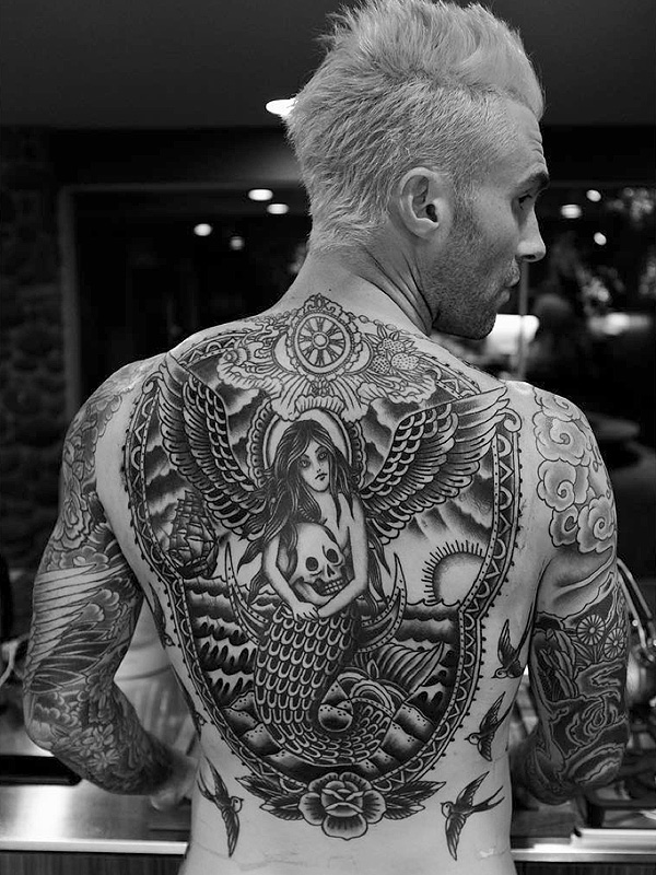 Adam Levine back tattoo