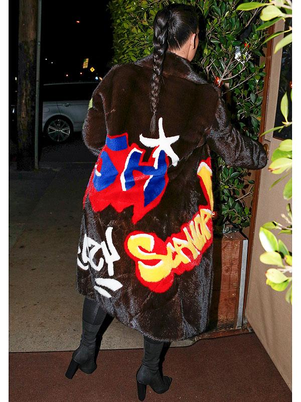 Kim Kardashian Graffiti Fur Coat 2
