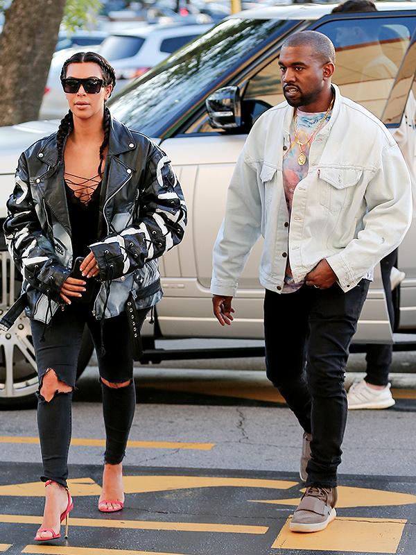 Kim Kardashian and Kanye West at Movies