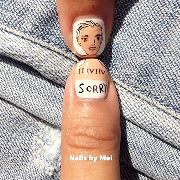 Justin Bieber nail art