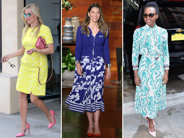 colorful pumps with bright dresses
