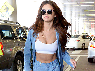 Selena Gomez Somehow Makes a Canadian Tuxedo Sexy, with the Help of a White Sports Bra