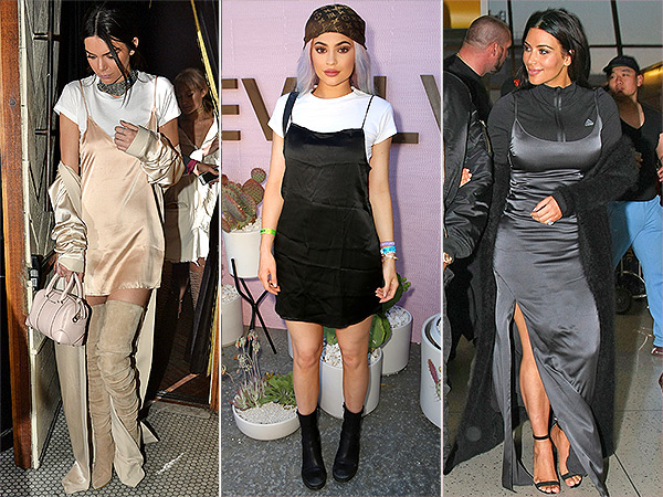 Kim Kardashian, Kendall and Kylie Jenner slip dresses and T-Shirt trend