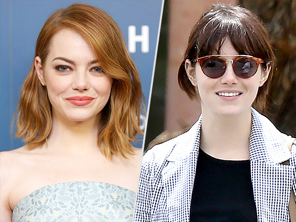 Emma Stone gets bangs, go dark