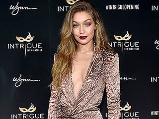 Birthday Babe Gigi Hadid Celebrates 21 (Again) in Vegas-ready Plunging Printed Dress