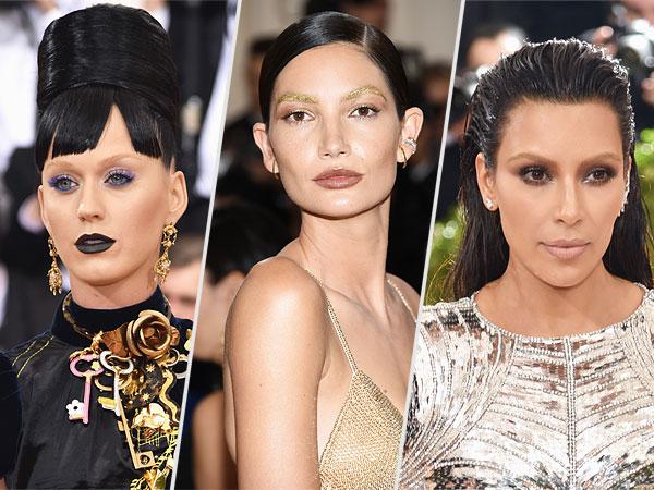 Met Gala 2016 Kim kardashian, Katy Perry, Lily Aldridge no eyebrows