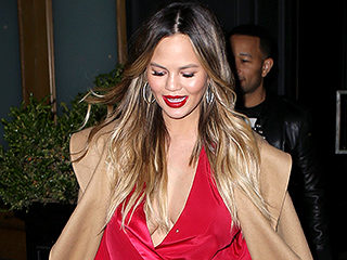 Chrissy Teigen Wears Spicy Red Dress In N.Y.C.