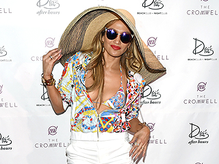 Jennifer Lopez Wore the Most J.Lo Outfit (Tiny Bikini, Giant Hat) Ever to a Pool Party This Weekend