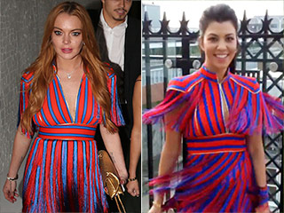 Kourtney Kardashian Borrows 'Long Lost Twin' Lindsay Lohan's Dress (A.K.A The Fashion Faceoff of Our Dreams)