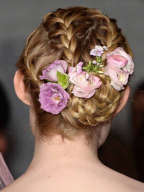 Elle Fanning braided floral updo
