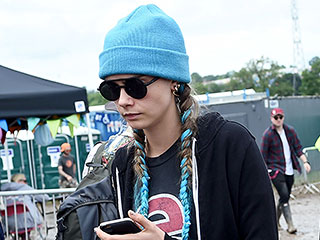 Cara Delevingne Rocks Boots (and Blue Hair!) at Glastonbury 2016