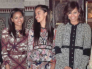 Michelle, Malia and Sasha Obama Coordinate in Pretty Prints for Morocco Dinner