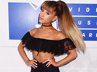 Ariana Grande Brings Tricolor Ombré Ponytail to the VMAs Red Carpet