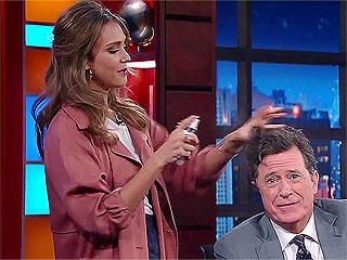 Watch Jessica Alba Turn Stephen Colbert's Hair Into a Millennial-Inspired Masterpiece