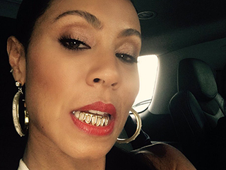 Jada Pinkett Smith Flashes Her Blinging Birthday Gift From Son Jaden: Gold 'Grillz'