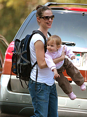 Jen Garner and Violet out on Tuesday