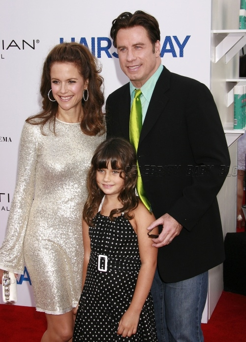 John Travolta, Kelly Preston, and Ella at Hairspray ...