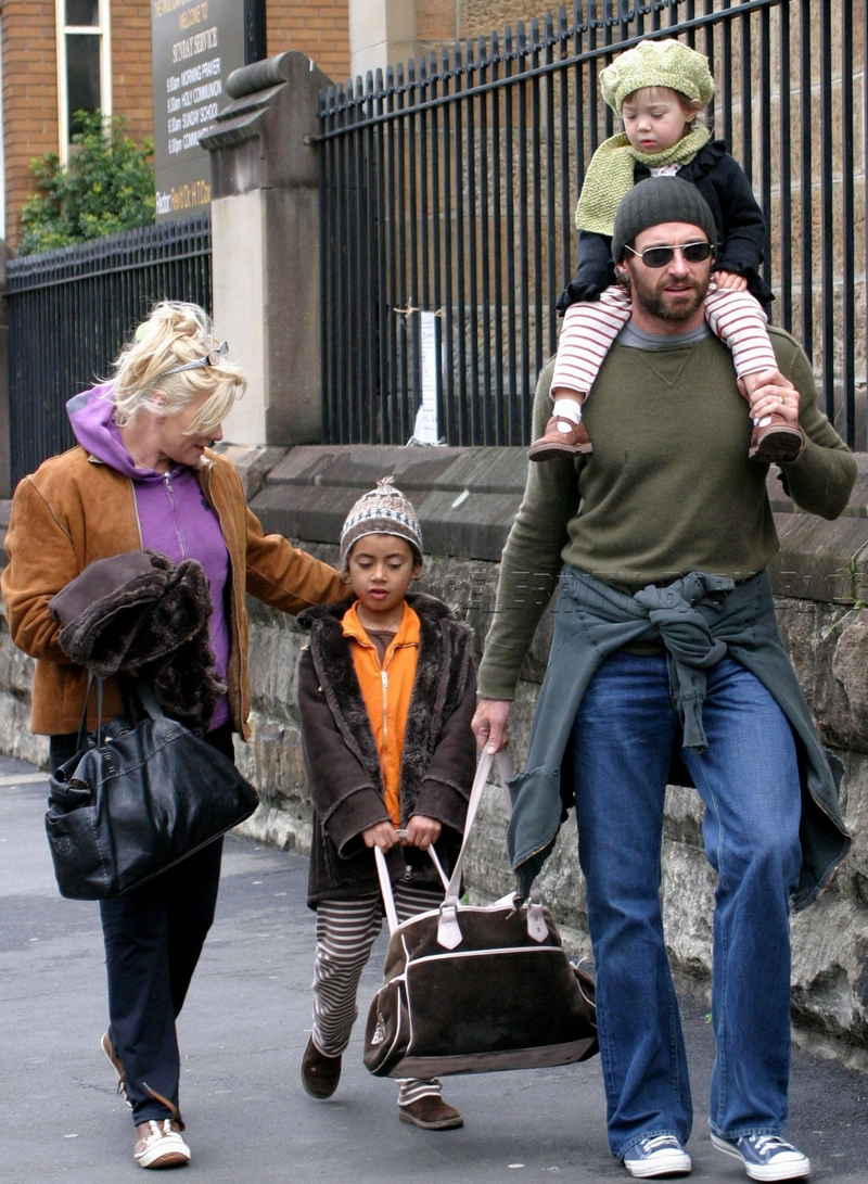 Hugh Jackman and family go out for breakfast