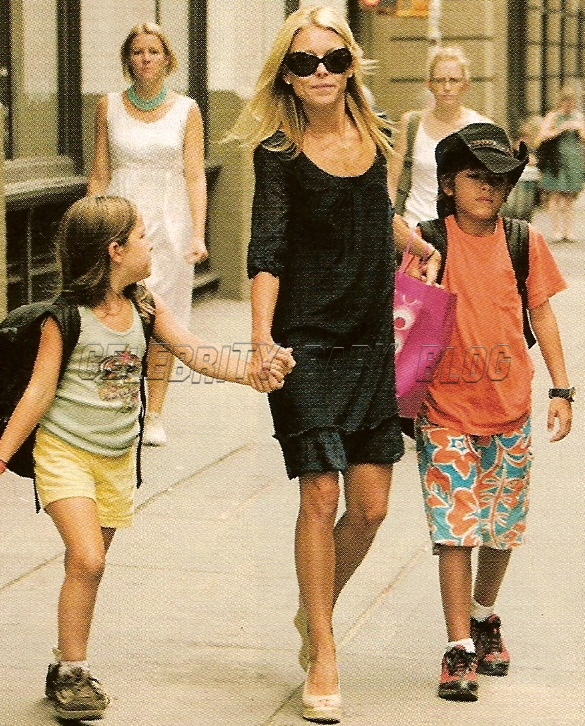 Kelly Ripa , 36, leads the way as she and kids Michael , 10, and Lola