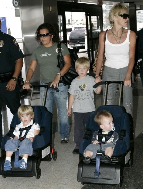 Sharon Stone And Sons At Lax Moms Amp Babies Celebrity