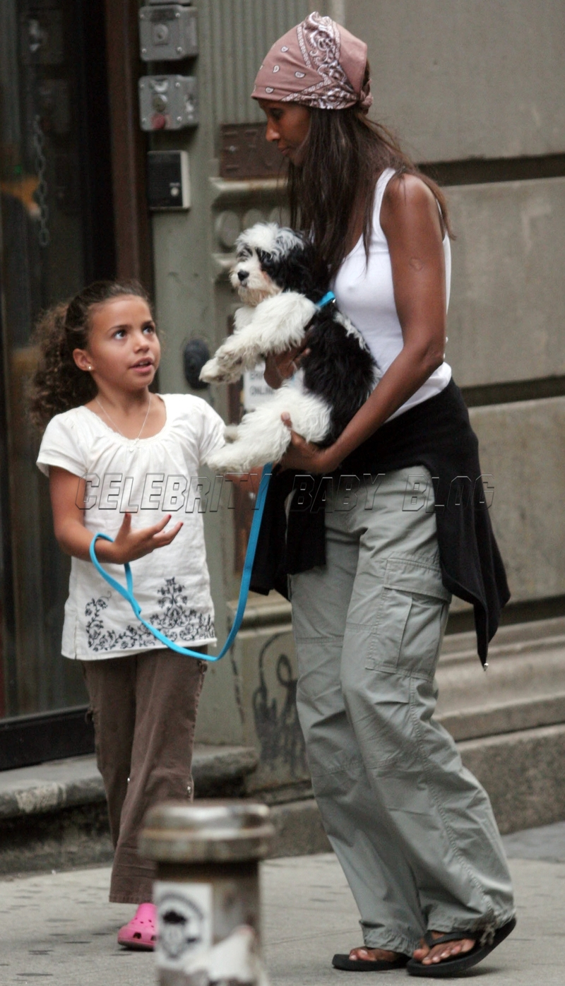 Iman and daughter Alexandria walk dog in NYC