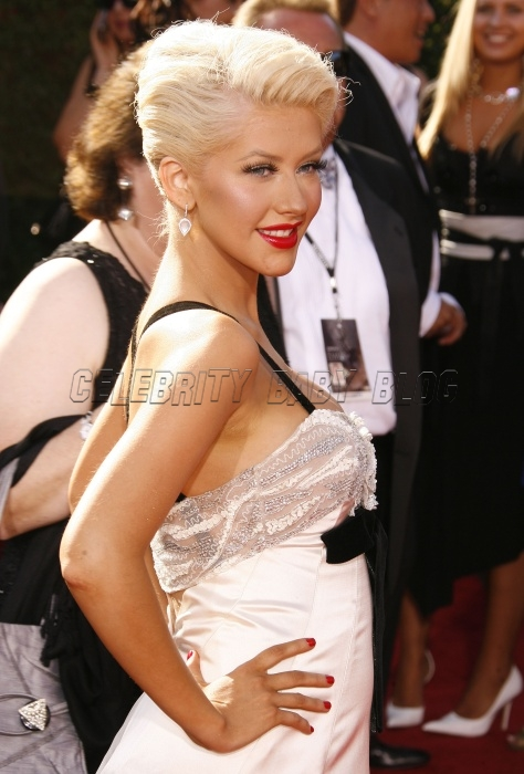 Christina Aguilera Arrives At The Emmy Awards Moms