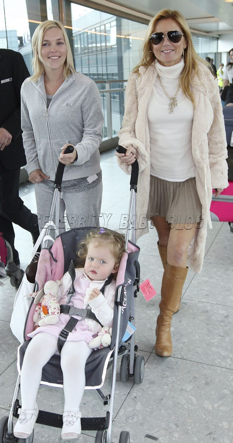 Geri And Bluebell Halliwell Arrive At Heathrow Moms