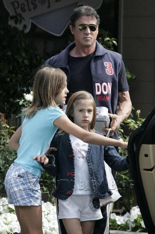 Sylvester Stallone and daughters out and about in Beverly ...