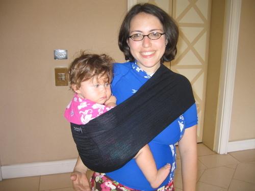 Danielle wearing Anya in a Karma Baby Water Sling
