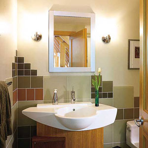 Bathroom Designs on Decorating A Half Bath  Mirror  Fireplace  Paintings  Ceiling
