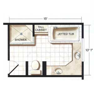 Bathroom Floor Plans, Large and Small » shower toilet