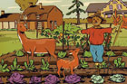 illustration of deer in a garden