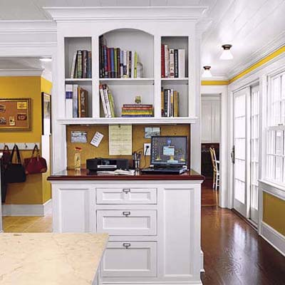 kitchen office with stand-up message center