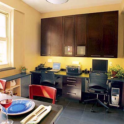 side-by-side desks in kitchen nook
