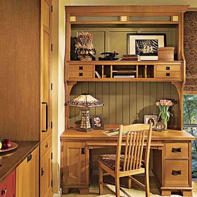 furniture-style desk in kitchen