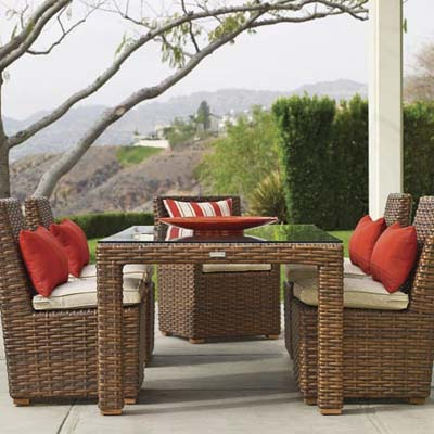 Faux Wicker Furniture on Faux Wicker Patio Furniture With Red And Whit Cushions And Pillows