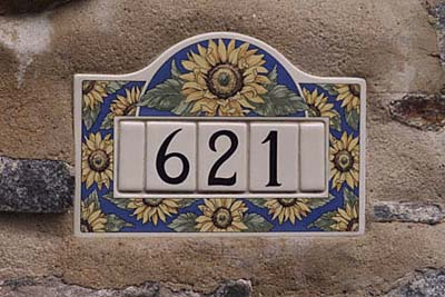 Art Nouveau-style tiles in high-fired ceramic address plaque