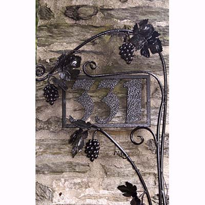 metal grape vine with hammered iron numbers