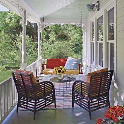 paint the underside of the awning a crisp white or pale pale mint