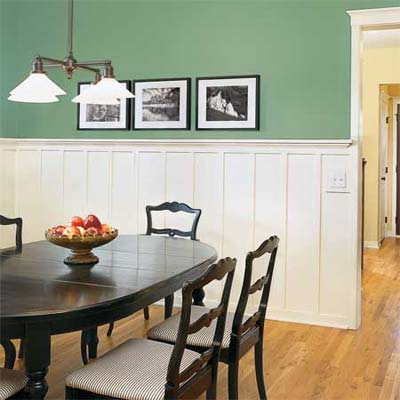 Dining room a couple of dreamers for Wainscoting designs dining room