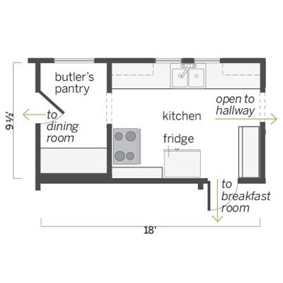 floorplan of this spanish colonial style kitchen before remodel