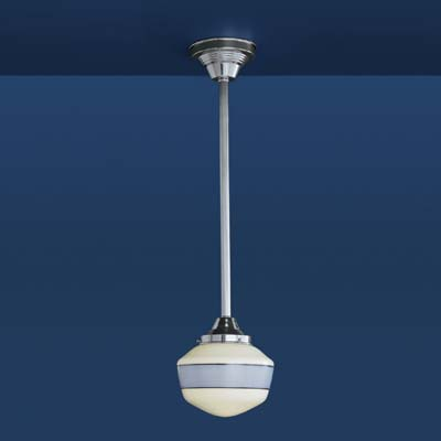 Schoolhouse Pendant Light on Schoolhouse Pendant Light In Polished Chrome With Periwinkle Banding
