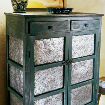 example of punched tin used to liven up old furniture