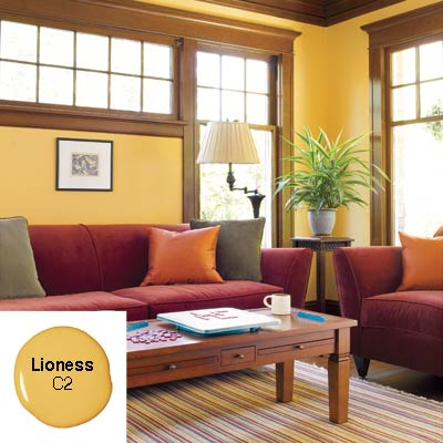 living room apricot gold walls moldings casings modern