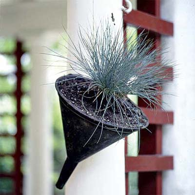 Metal funnel turned hanging planter from thisoldhouse.com